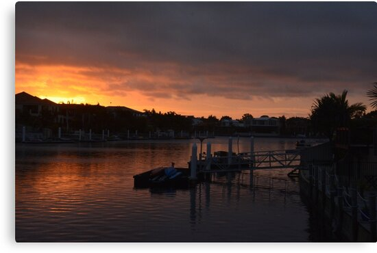 CALOUNDRA SUNSET OVER WATER by Barbara  Jean