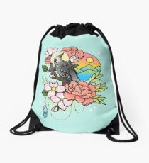 White-faced Cockatiel Tattoo-style Drawstring Bag