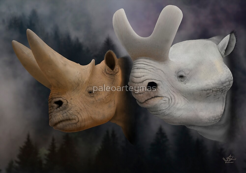 Arsinoitherium and Brontotherium by paleoarteymas