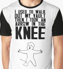 Vault Boy - Arrow in the Knee - Black - Transparent Background Graphic T-Shirt