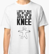 Vault Boy - Arrow in the Knee - Black - Transparent Background Classic T-Shirt