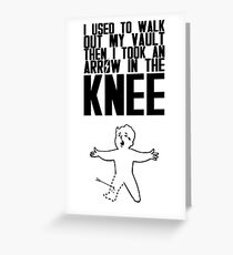 Vault Boy - Arrow in the Knee - Black - Transparent Background Greeting Card