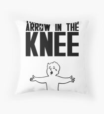 Vault Boy - Arrow in the Knee - Black - Transparent Background Throw Pillow