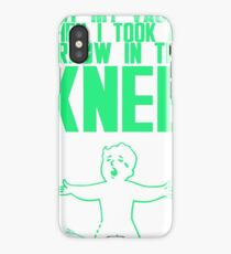 Vault Boy - Arrow in the Knee - Green - Transparent Background iPhone Case