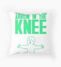 Vault Boy - Arrow in the Knee - Green - Transparent Background Throw Pillow