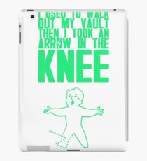 Vault Boy - Arrow in the Knee - Green - Transparent Background iPad Case/Skin