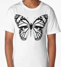 Monarch Butterfly Pattern | Black and White Long T-Shirt