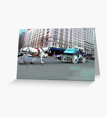 NY City, buildings, horse and carrage Greeting Card