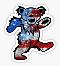 Grateful Dead Dancing Bear American Flag Sticker