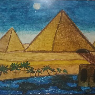 Ancient Giza Pyramids in Egypt Nile River Desert  by ArtistOnDeck