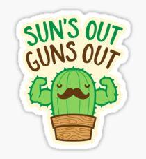 Sun's Out Guns Out Macho Cactus Sticker