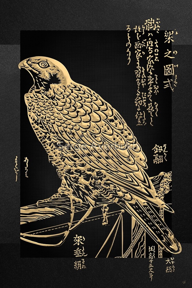 Golden Japanese Peregrine Falcon on Black Canvas  by Serge Averbukh