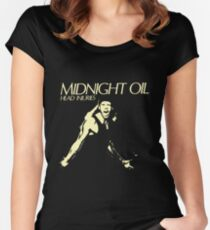 midnight oil head injuries Women's Fitted Scoop T-Shirt