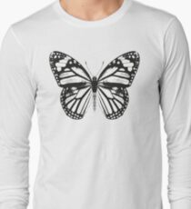 Monarch Butterfly Pattern | Black and White Long Sleeve T-Shirt