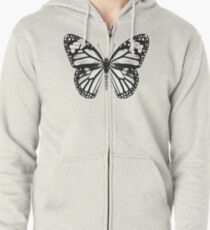 Monarch Butterfly Pattern | Black and White Zipped Hoodie