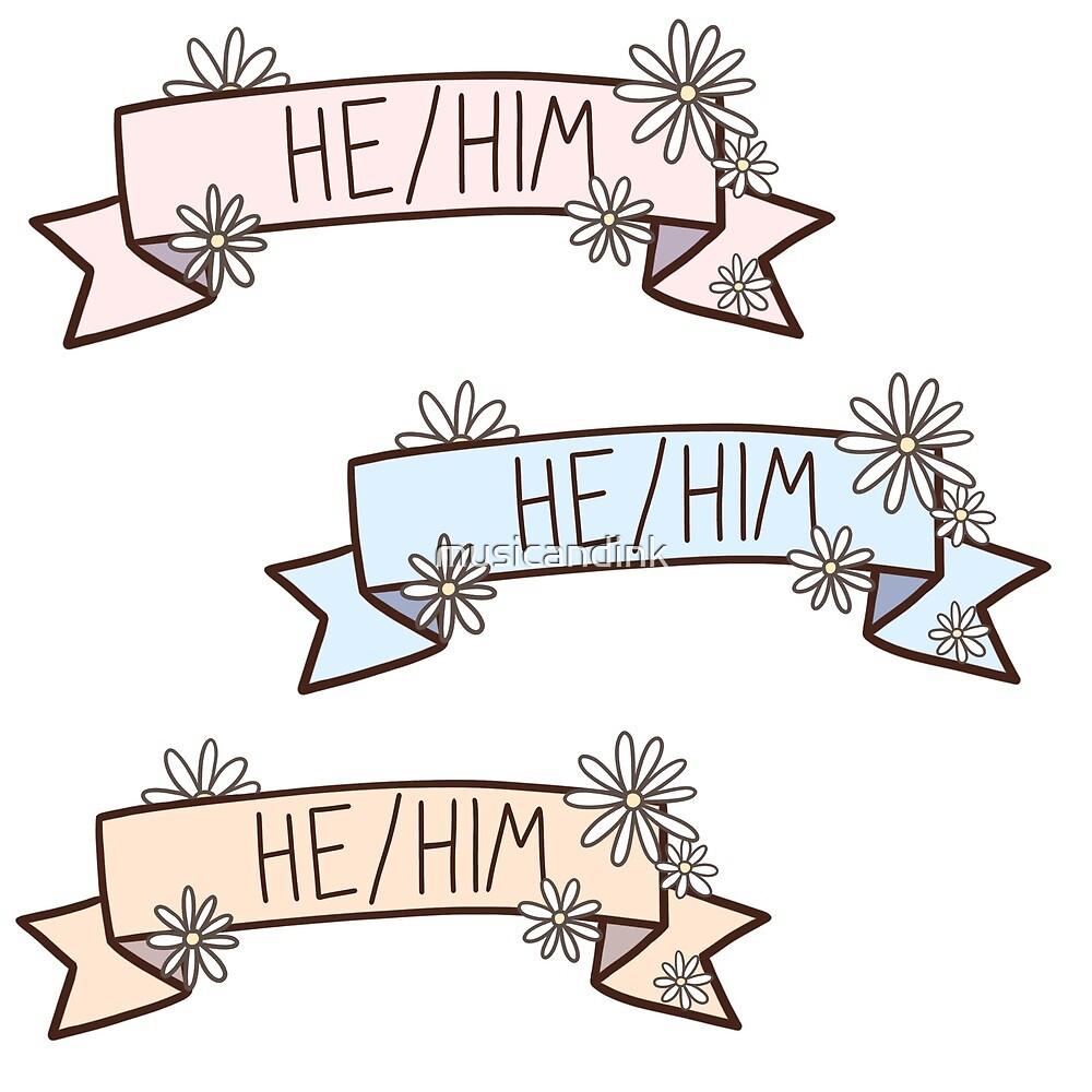 He/Him Banner Sticker Set by musicandink
