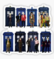 The 14 Doctors and Tardises Sticker