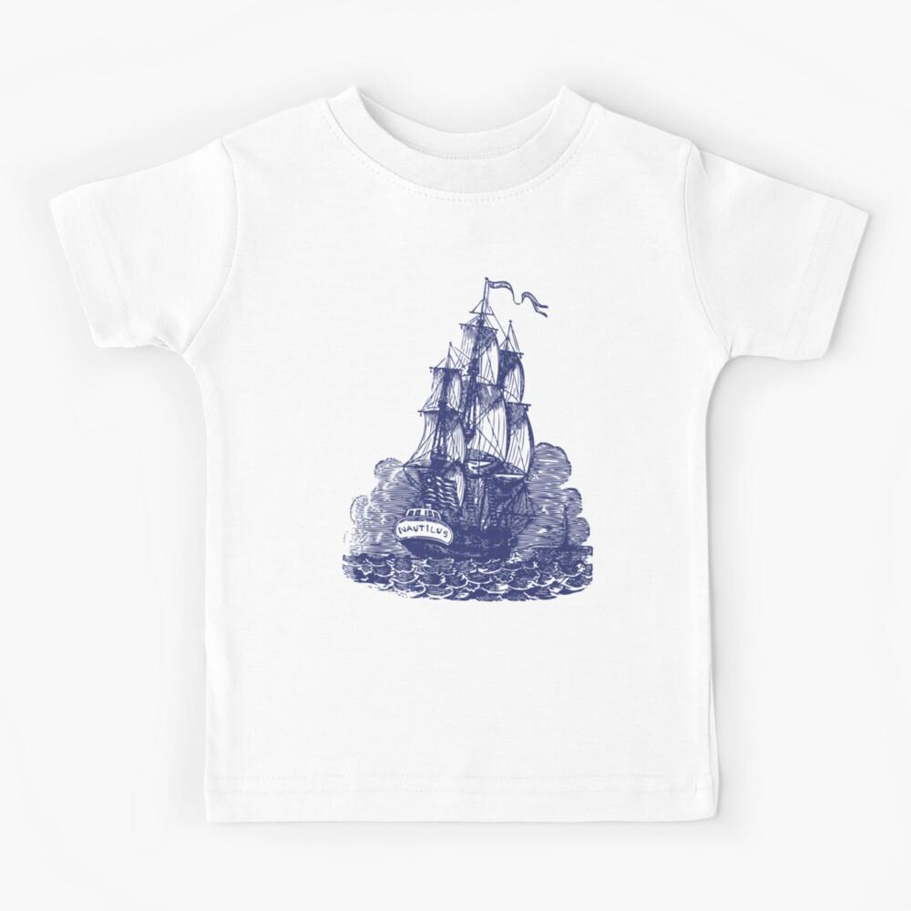 Sailing Ship   Schooner   Navy Blue and White   Vintage Sailing Ship   Nautical    Kids T-Shirt