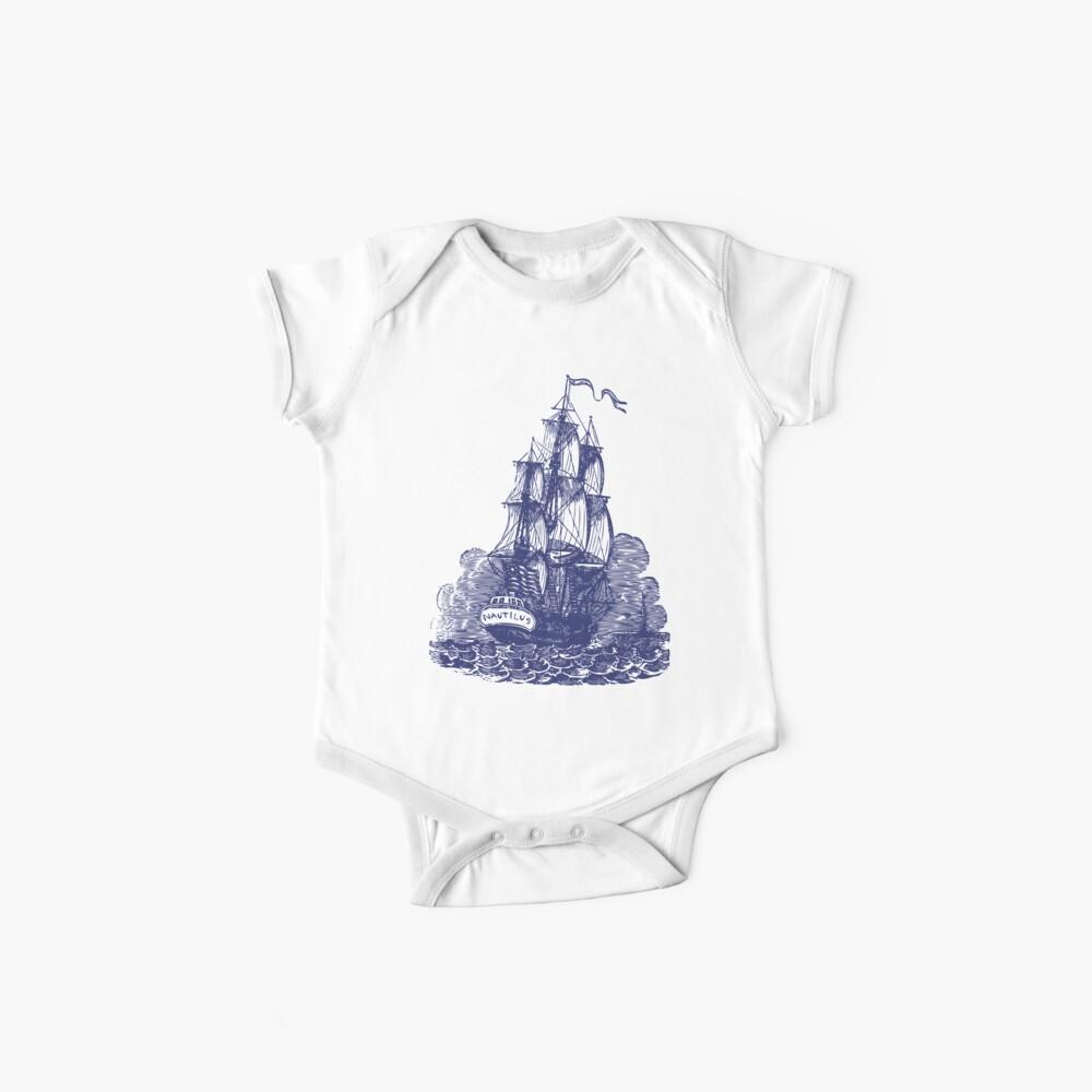 Segelschiff | Schooner | Marineblau und Weiß Baby Bodys