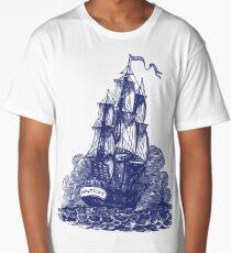 Sailing Ship   Schooner   Navy Blue and White Long T-Shirt