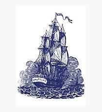 Segelschiff | Schooner | Marineblau und Weiß Fotodruck
