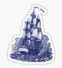 Sailing Ship   Schooner   Navy Blue and White Sticker