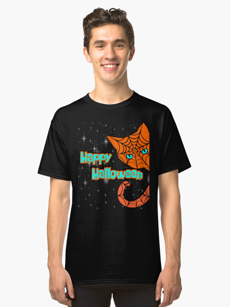 Happy Halloween Black Cat 2017 T-Shirt Funny costume Gift Classic T-Shirt Front