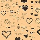 Cute Taupe Heart Modern Burlywood by Nhan Ngo