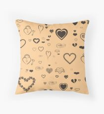 Cute Taupe Heart Modern Burlywood Throw Pillow