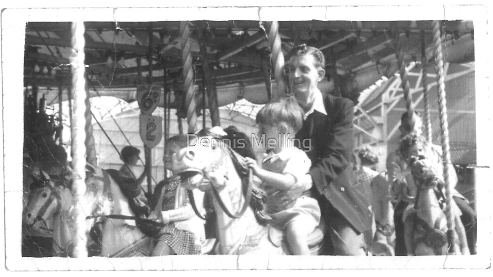 Dad and My Brother Alan on a Carousel at the Seaside 1955 by Dennis Melling