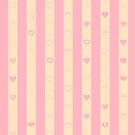 Cute Heart Modern Pink Stripes Pattern by Nhan Ngo