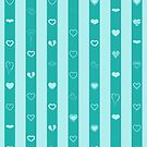 Cute Heart Modern Turquoise Stripes Pattern by Nhan Ngo