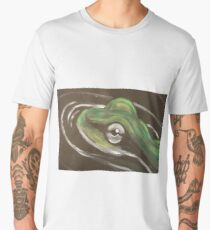 Oil painting of frog in the water.  Men's Premium T-Shirt