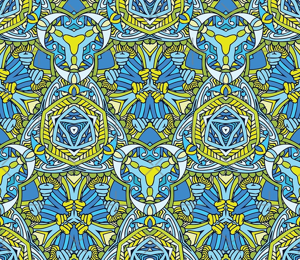 Blue green abstract pattern by Zand