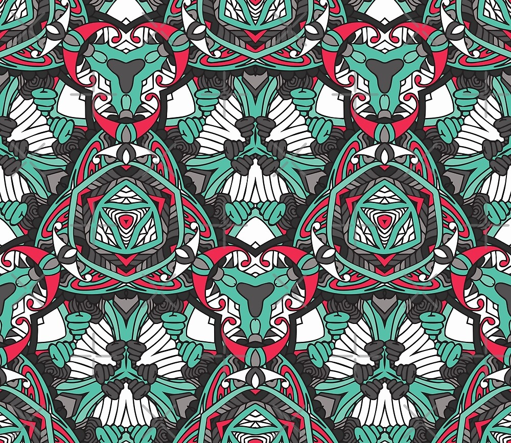 Bold pattern, teal red grey & black by Zand