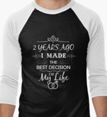Funny 2nd Wedding Anniversary Shirts For Couples. Funny Wedding Anniversary Gifts Men's Baseball ¾ T-Shirt