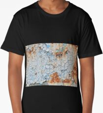 Background of peeling blue paint on an iron wall Long T-Shirt