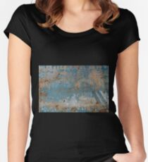 Background of peeling blue paint on an iron wall Women's Fitted Scoop T-Shirt