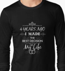 Funny 4th Wedding Anniversary Shirts For Couples. Funny Wedding Anniversary Gifts Long Sleeve T-Shirt