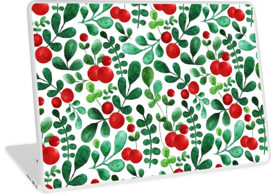 Watercolor pattern with red berries and leaves by yashroom