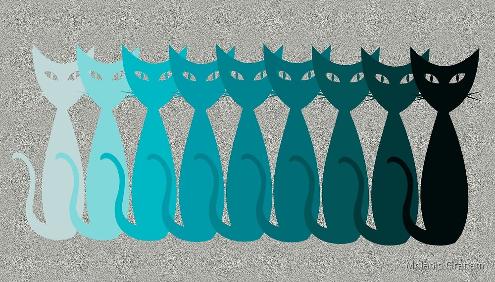 teal ombre mid-mod cats by Melanie Graham