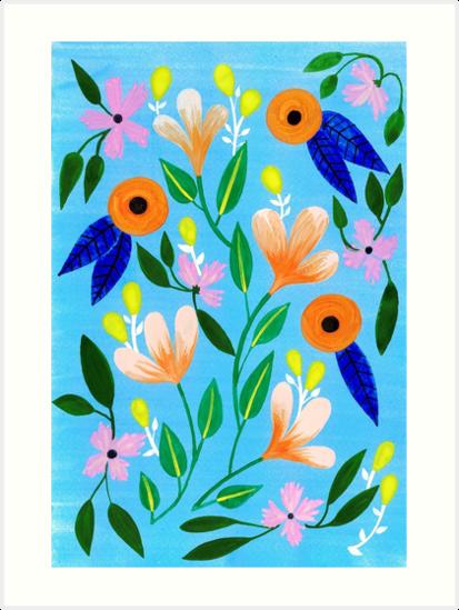 Flowers on blue by Iisa Mönttinen