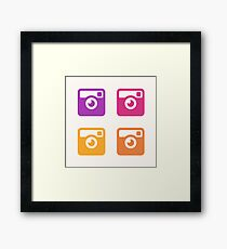 Insta Sunset Cameras Pattern Framed Print
