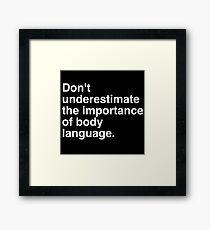 Body Language White Framed Print