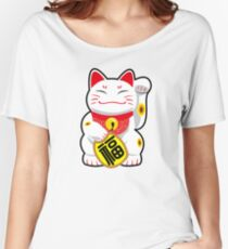 Maneki-neko/Beckoning Cat/Fortune Cat/Lucky Cat - Japenese/Chinese Women's Relaxed Fit T-Shirt
