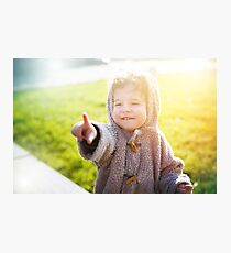 Cute little kid in funny clothes like teddy bear  Photographic Print