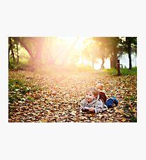 Happy kid boy in autumn park Photographic Print