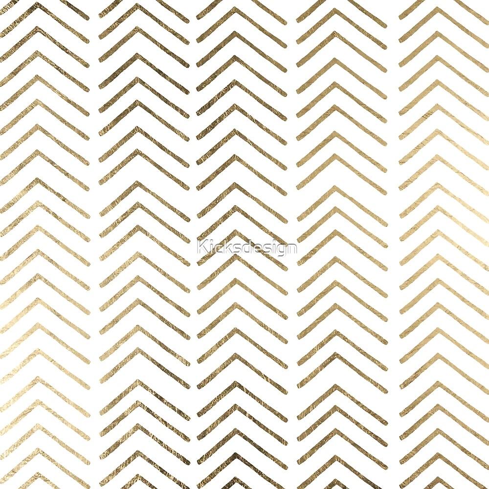 Elegant white faux gold chevron geometrical pattern by Maria Fernandes
