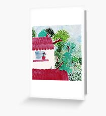 House in the forest, trees, watercolor Greeting Card