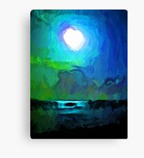 Moon in a Blue and Green Sky and on the Sea 1 Canvas Print